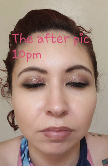 the same reviewer with their makeup still on perfectly 5 hours later