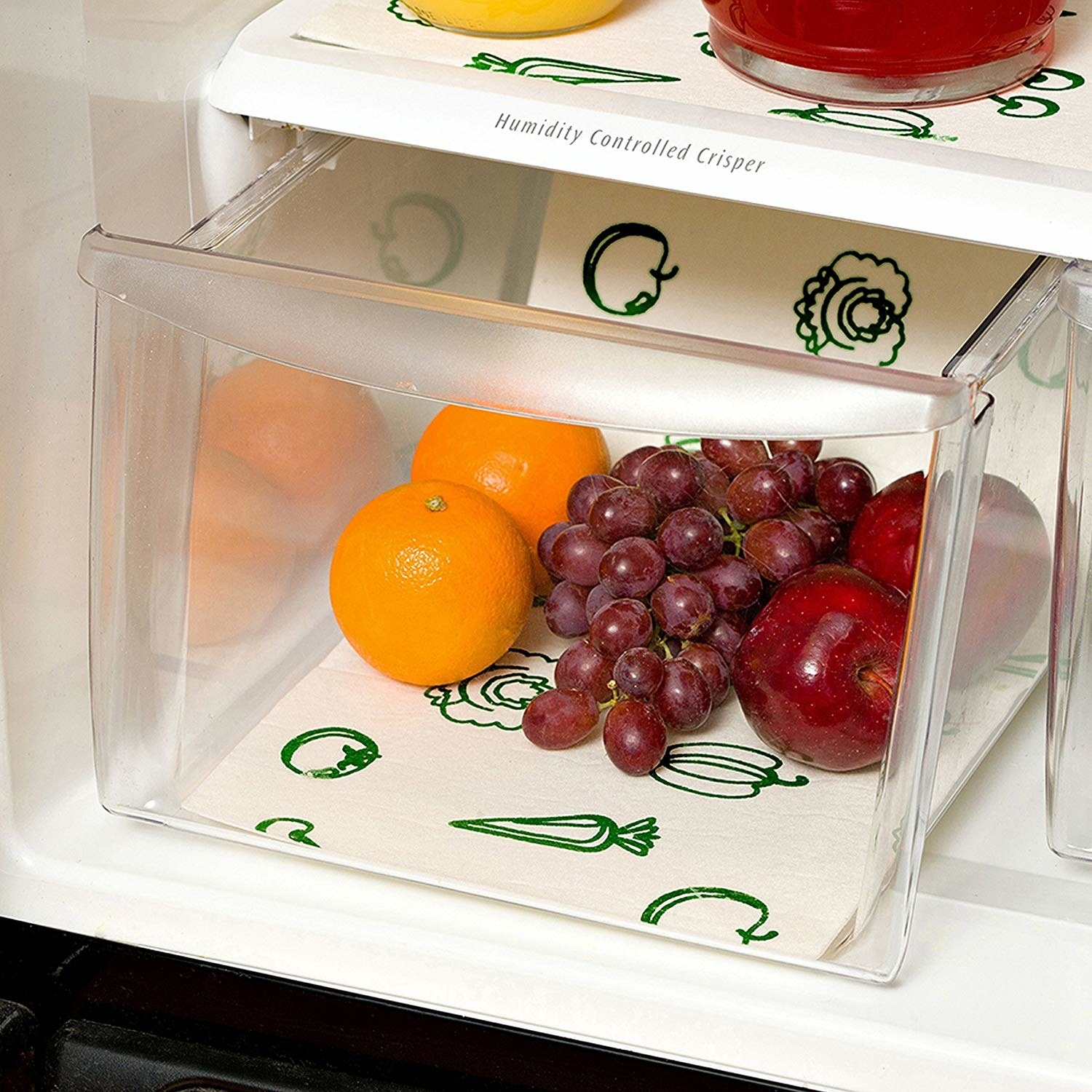 fridge produce bin with the liner in the bottom