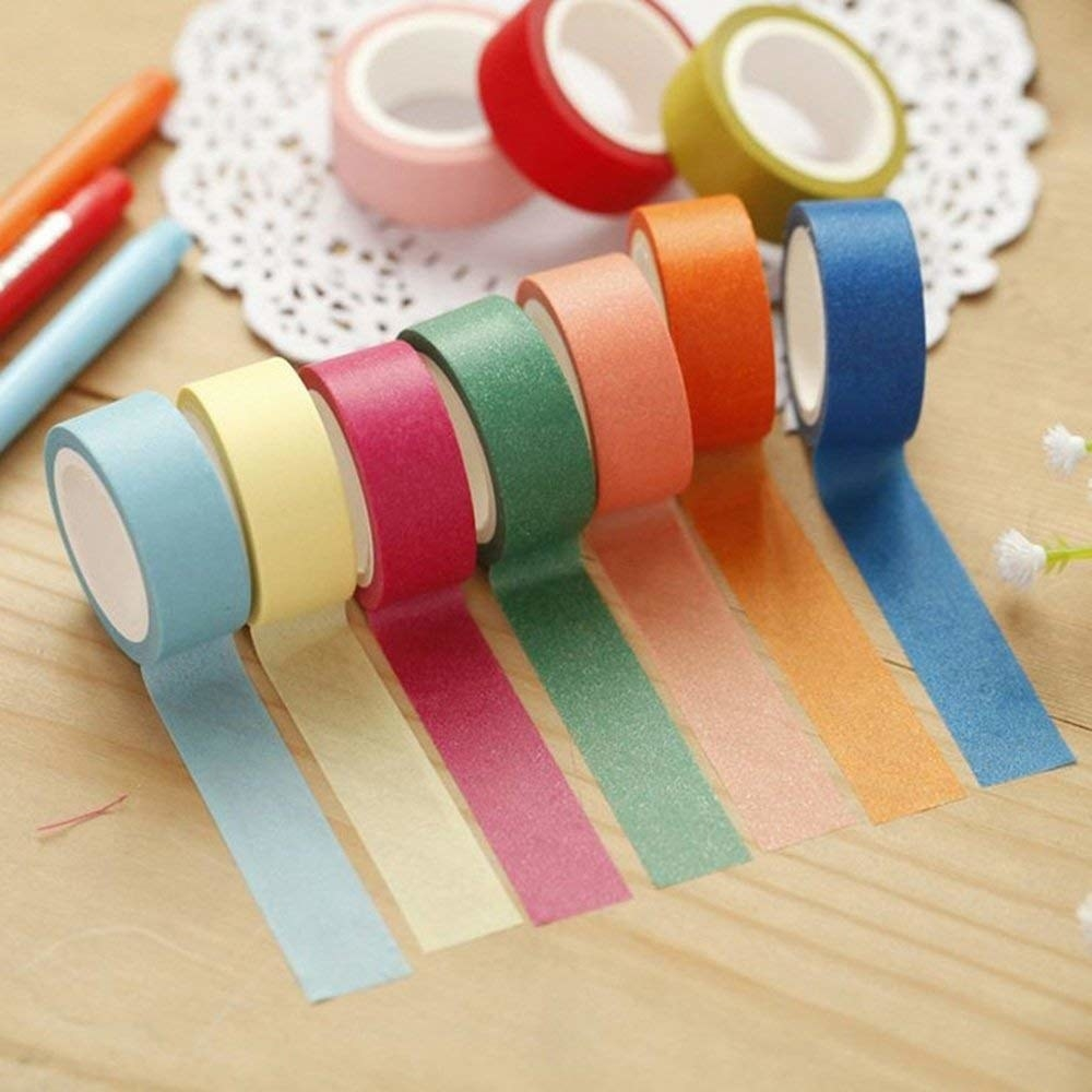 Seven rolls of washi tape in different colours