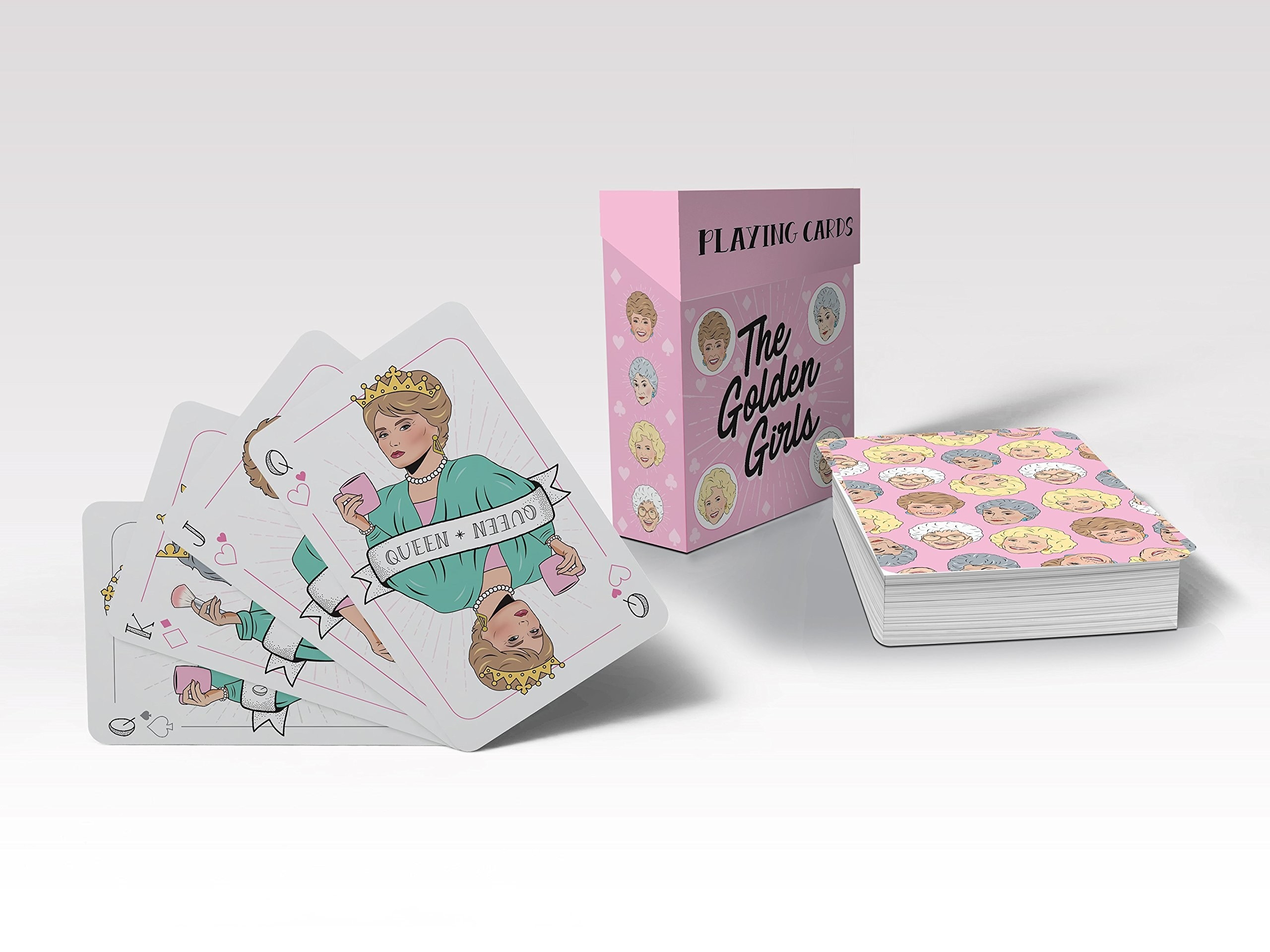 A stack of cards with illustrations from The Golden Girls on them