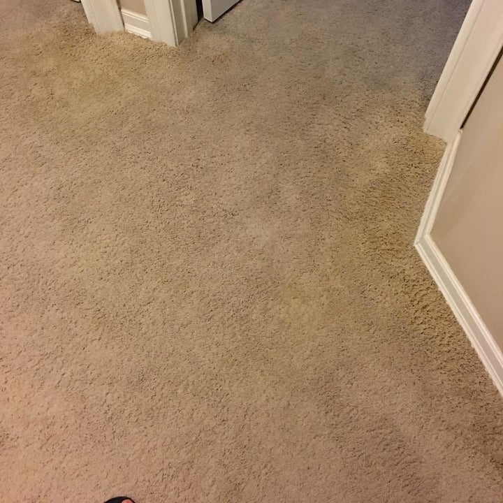 Same reviewer's photo showing the spray removed the stain totally