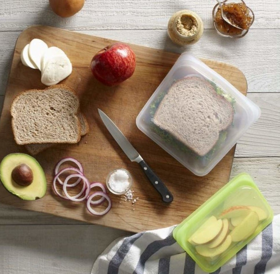 sandwiches and snacks stored in silicone stasher bags
