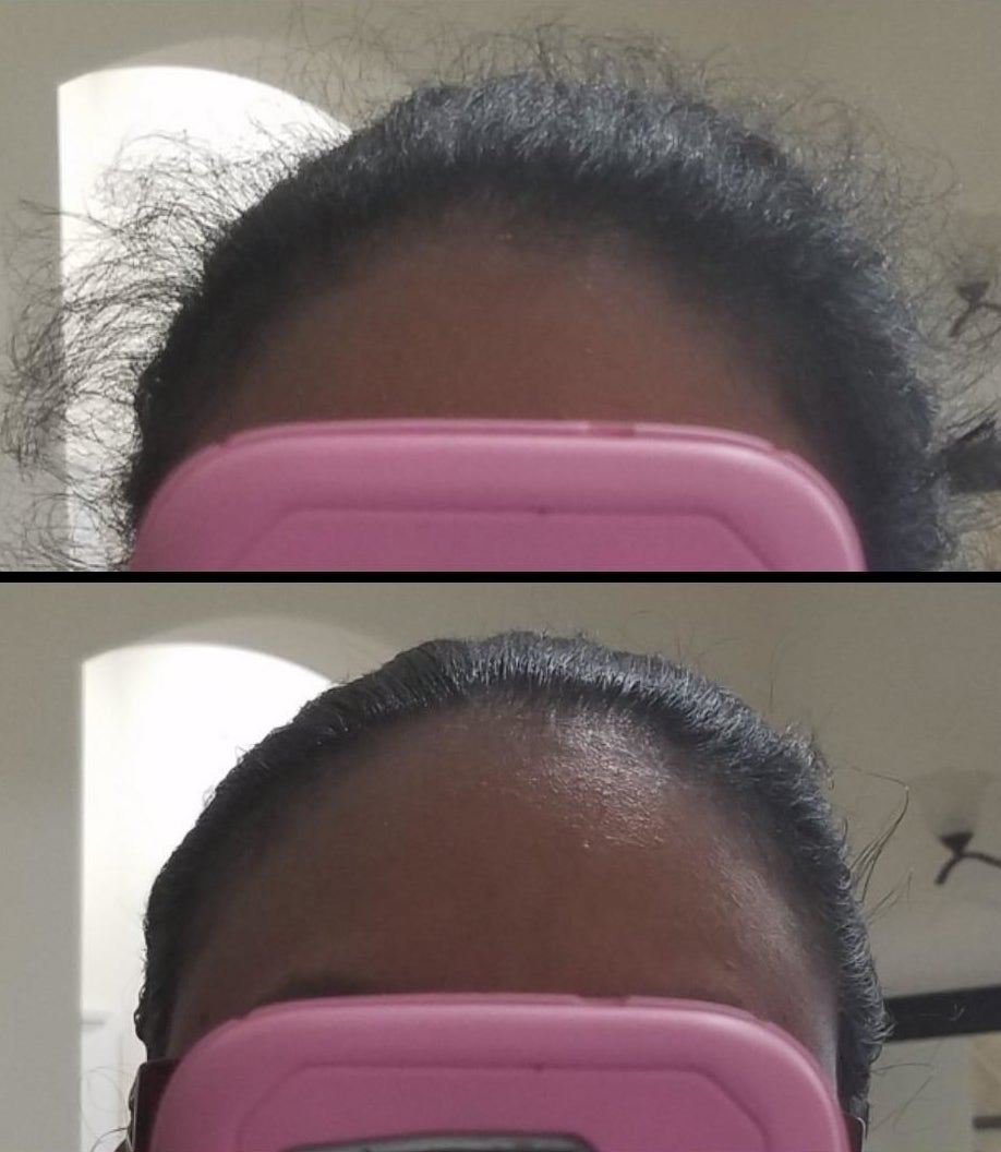 The top of a person's head before and after using the hair-finishing stick. Before using the stick, there is a lot of frizz. After using the stick, the hair is slicked back.