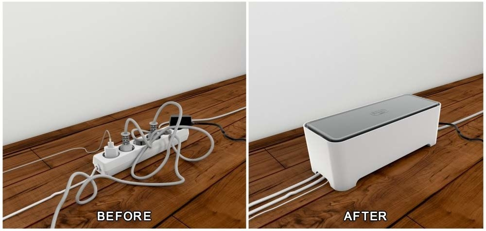 A before and after picture of messy cords perfectly organized in the hub