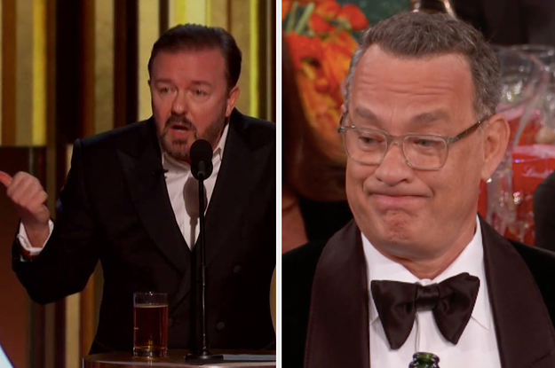 """Ricky Gervais Brutally Roasted Celebrities For Being Fake """"Woke"""" And Tom Hanks's Face Was Priceless"""