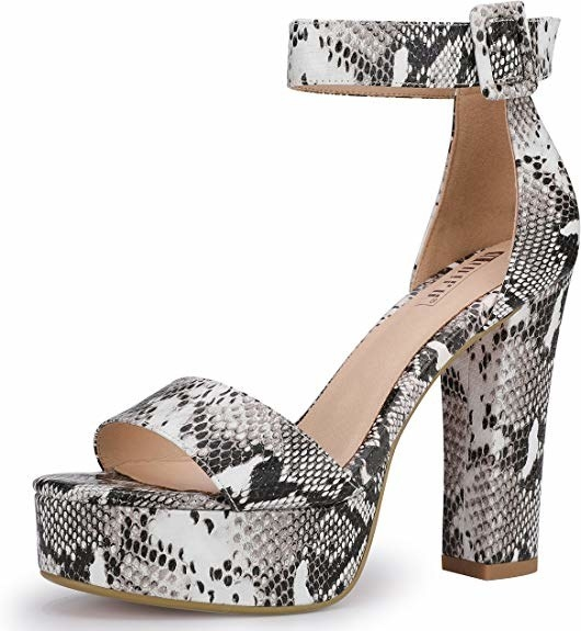 faux snake skin heels with an ankle strap
