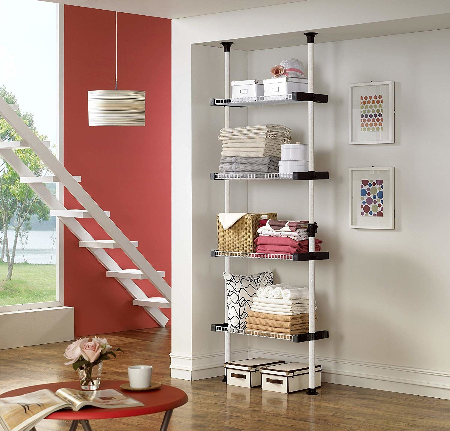 The four-shelf closet system secured in a wall nook.