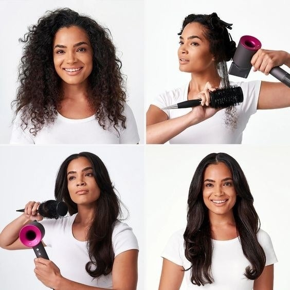 A model using the dryer to go from frizzy curls to smooth, straight hair