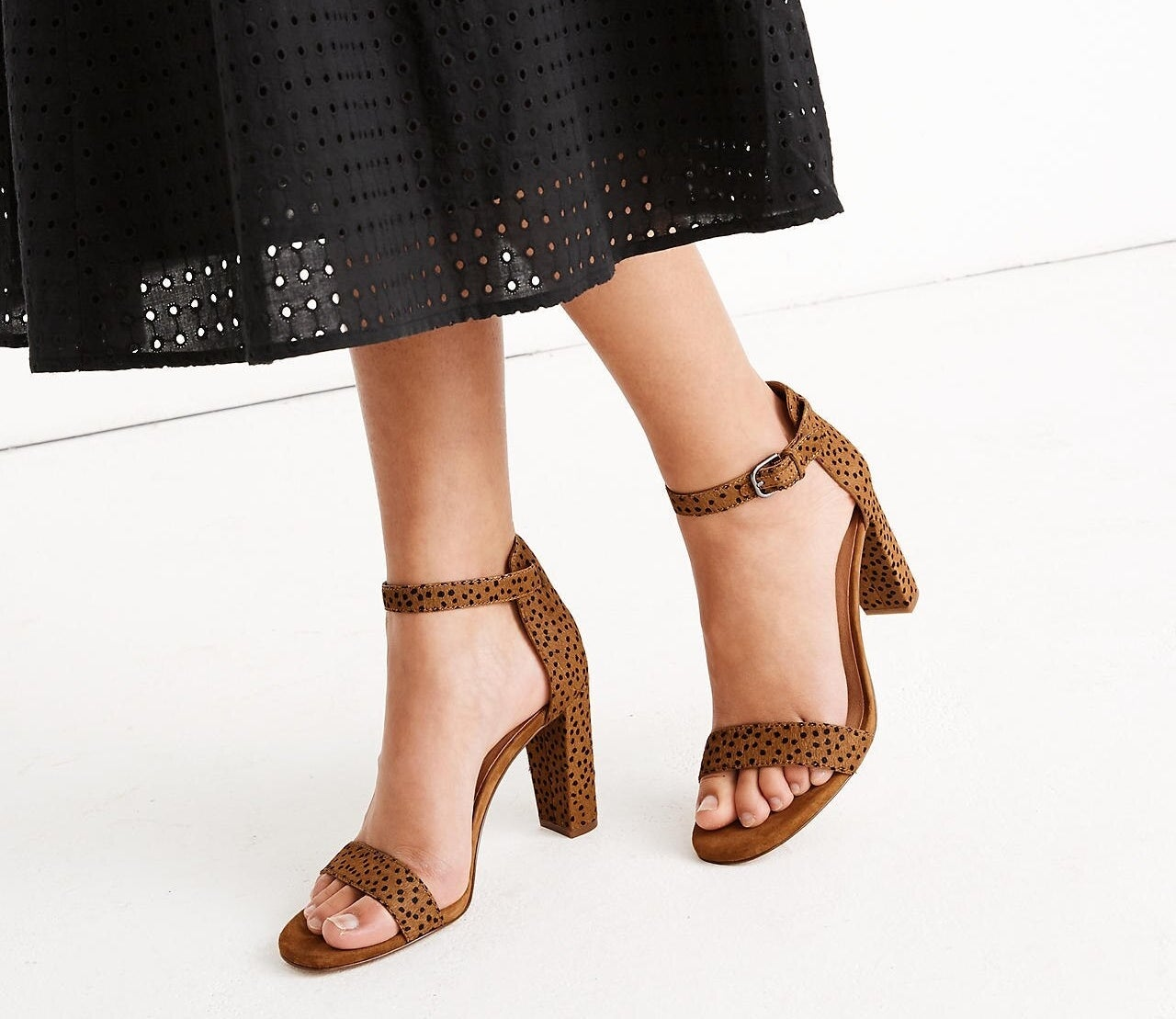the block heels with an ankle strap in brown with black spots