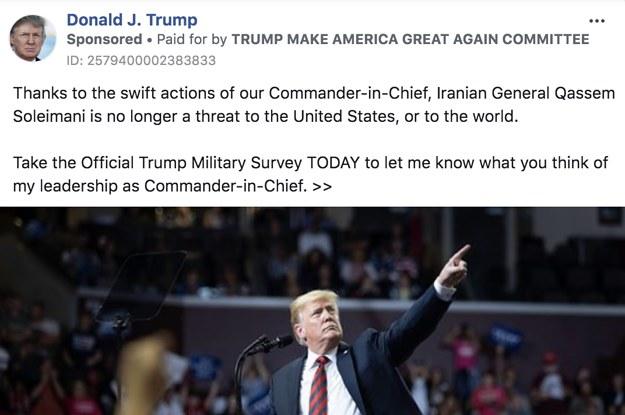 Trump Is Running Hundreds Of Facebook Ads Praising Himself For The Killing Of Iranian Gen. Qassem Soleimani