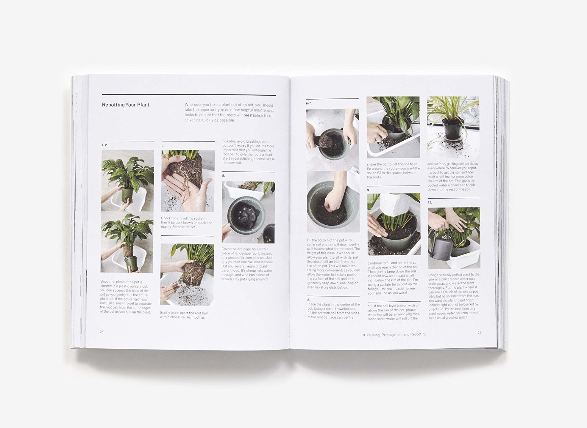 A page inside the book about potting plants