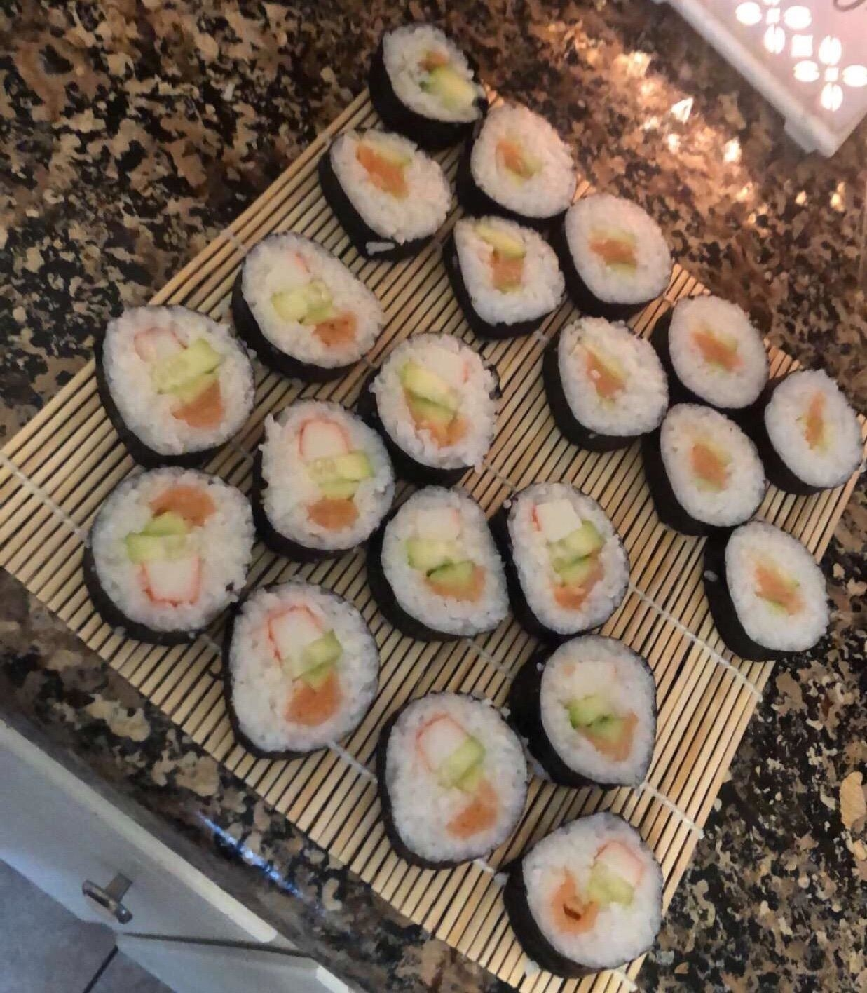 Reviewer photo of the professional-looking sushi they made