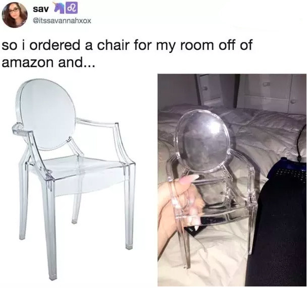 tweet reading so i ordered a chair for my room off of amazon and it's a really tiny chair