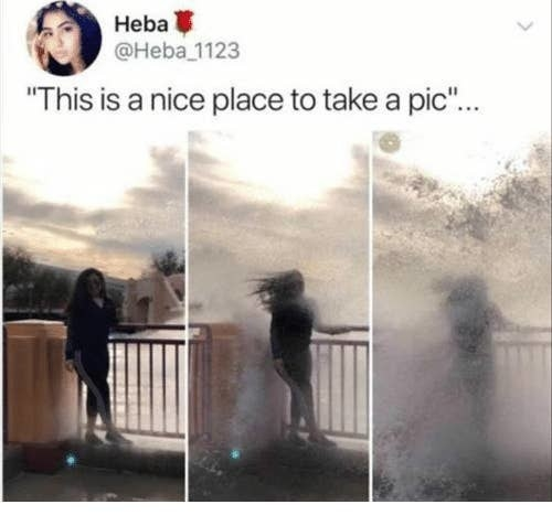 three pictures in succession of a woman getting splashed