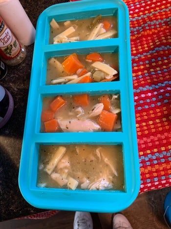Reviewer photo of their chicken noodle soup in the tray