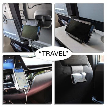 the phone holder being used on a plane and in a car to prop up a phone in different ways