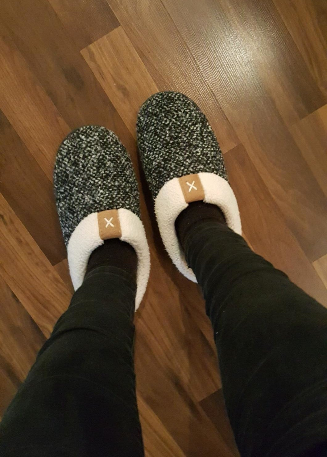reviewer wearing slippers