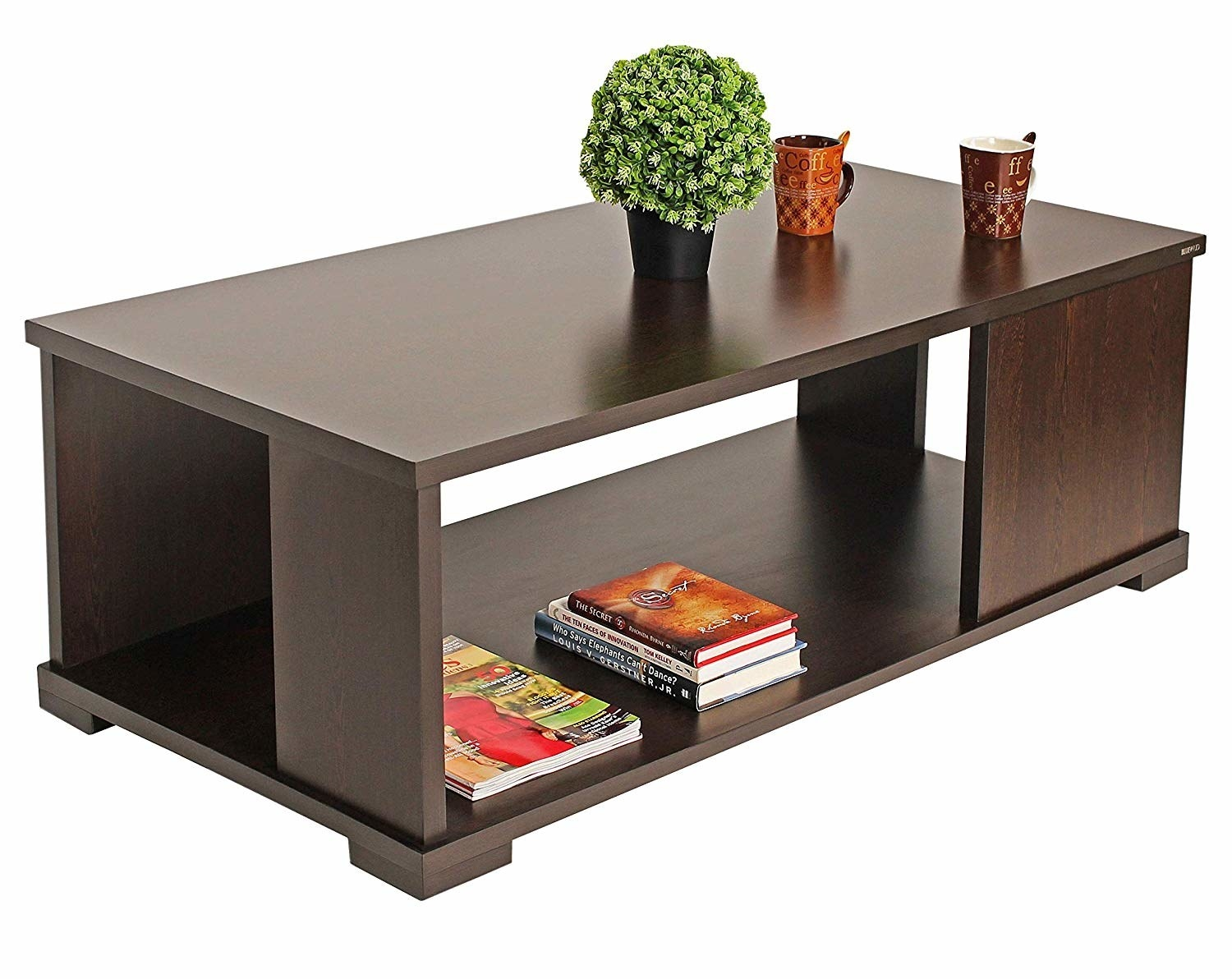 A rectangular wenge dining table with storage space at the bottom