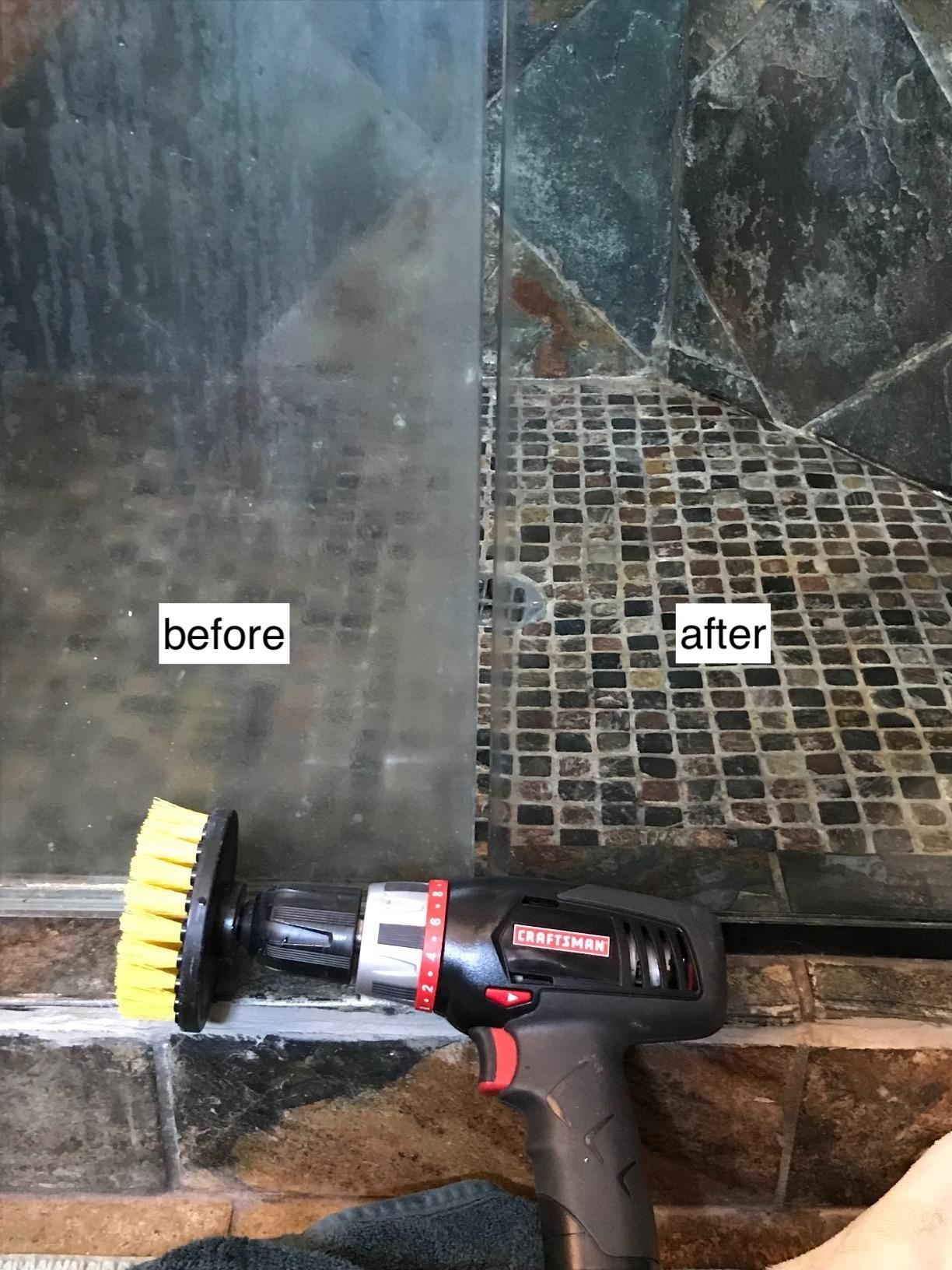 A bristled round brush attached to a drill next to a before and after of a smogged up and clean shower door