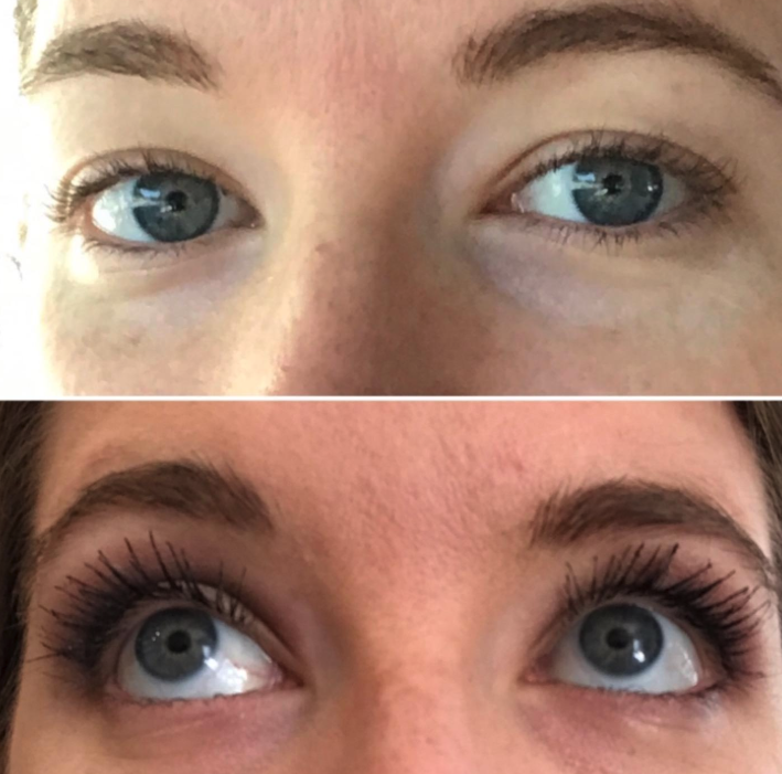 before/after image of lashes without and with the booster. The after pic shows long, full-looking lashes