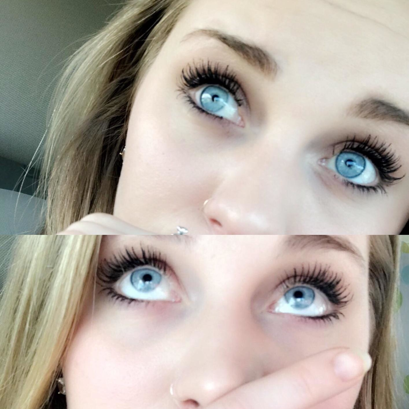 Two photos of someone with blue eyes and dark mascara.