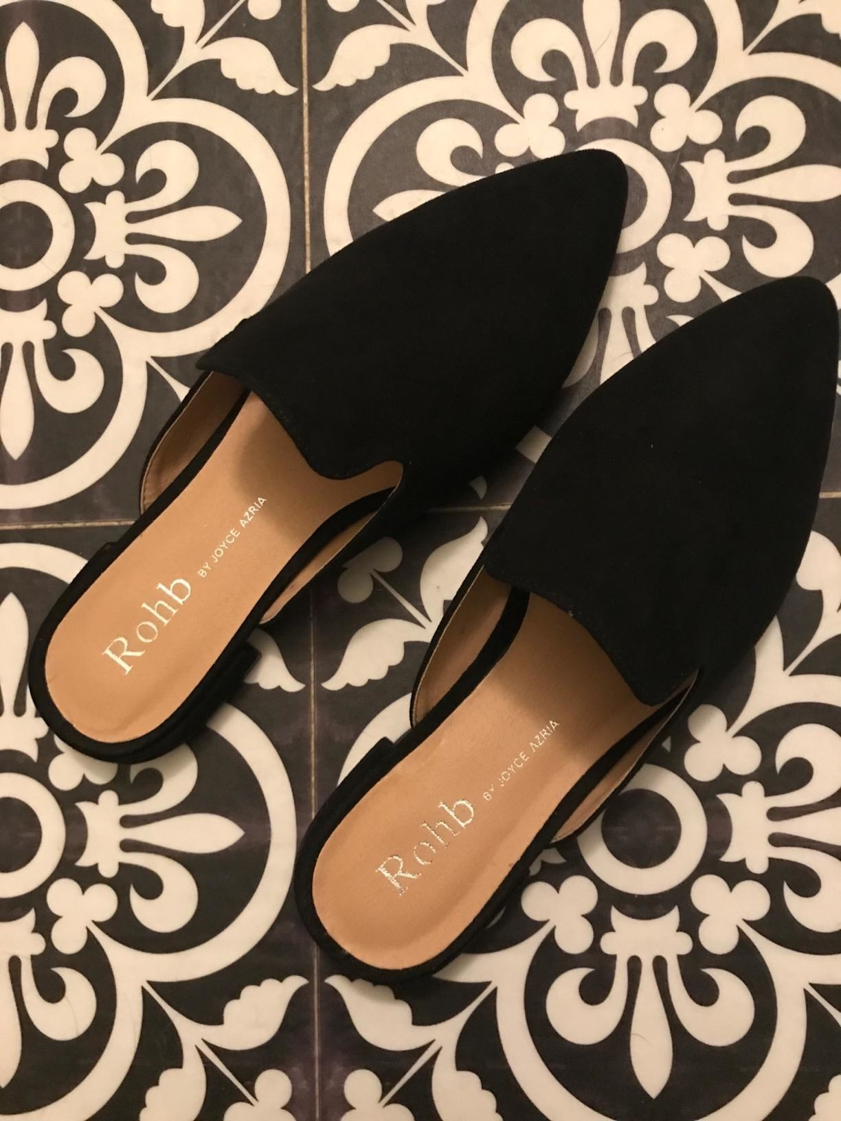 the pointed-toe slip-ons in black