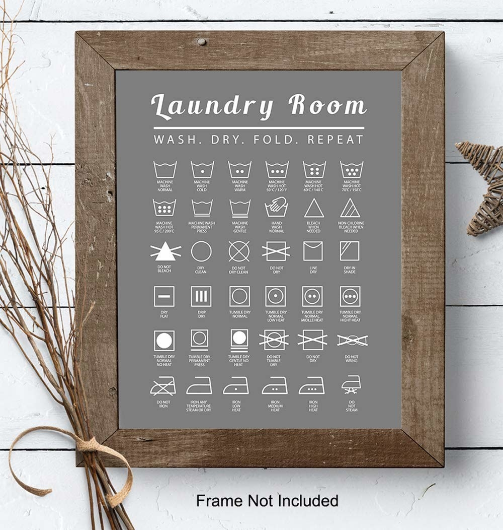 piece of wall art with a gray background and various laundry symbols in white with what each symbol means