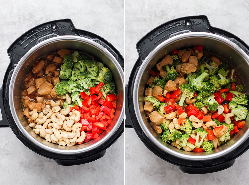Cashew chicken with vegetables being made in the Instant Pot