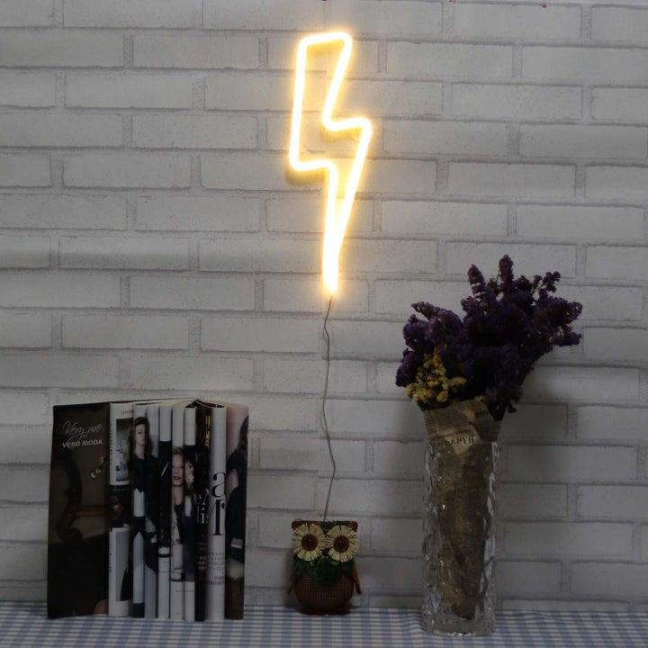 lightning bolt LED light in a bedroom