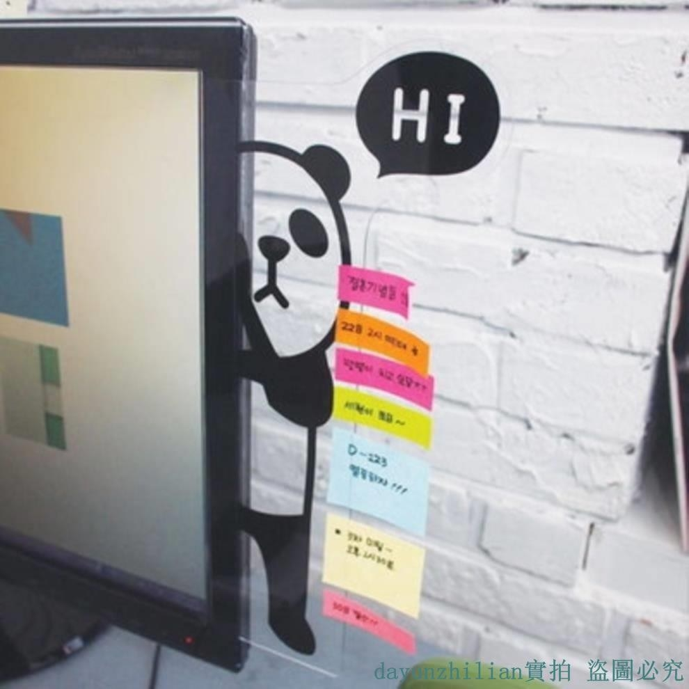 "An illustration of a panda in black on a clear board attached to a monitor with the word ""Hi"" in a bubble and sticky notes on it"