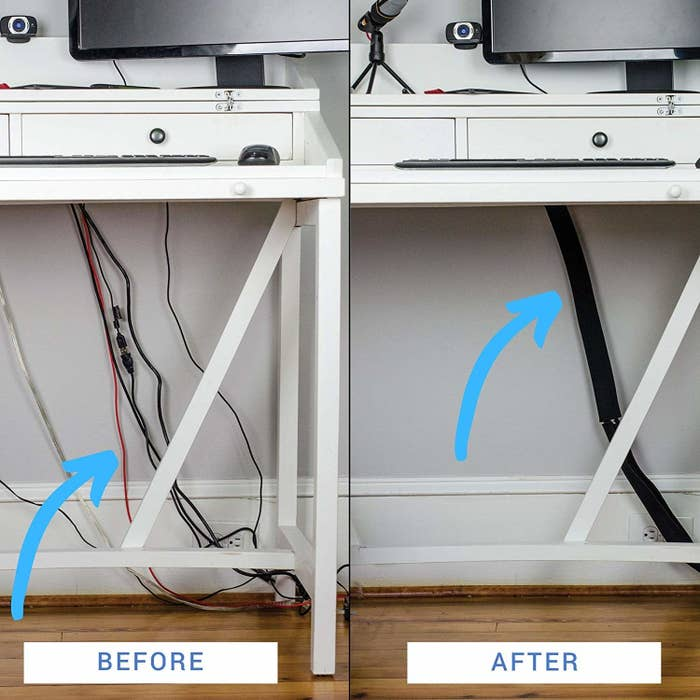 a before and after photo showing the cords neatly stowed away