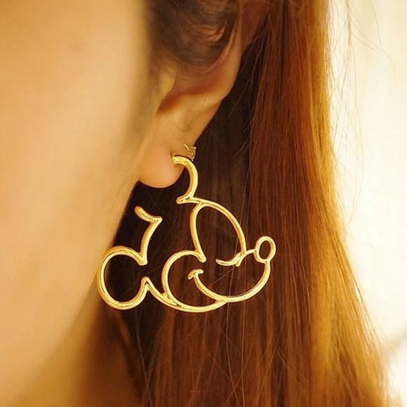 mickey shaped dangling earring