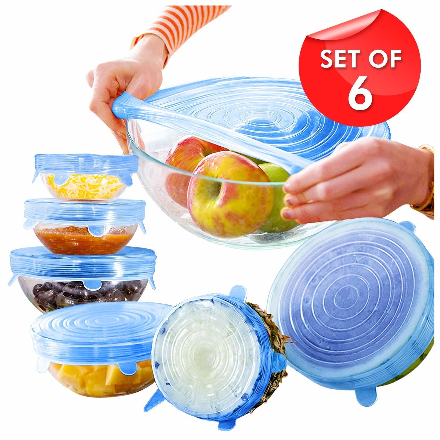 A silicone stretch lid being placed over a bowl of food, and six food bowls of different sizes with stretch lids already on them