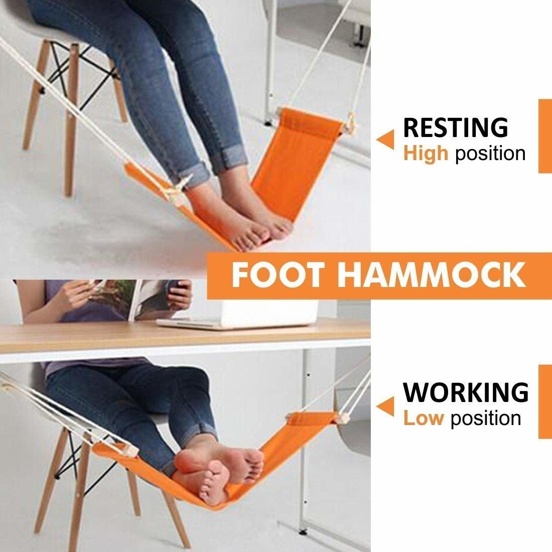 A collage of a person resting their feet on a foot hammock under a table