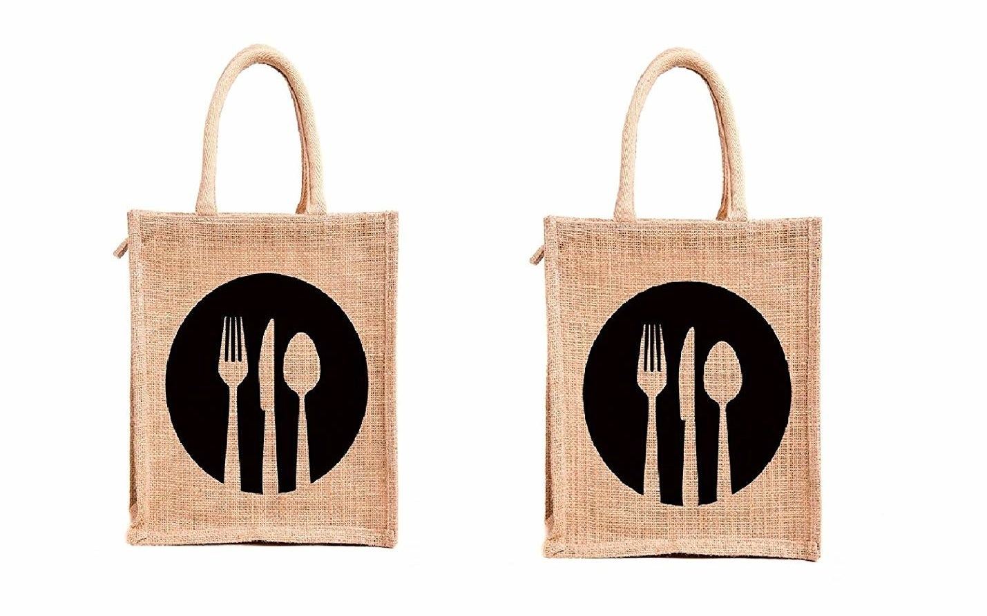 Two jute bags with a black logo on them
