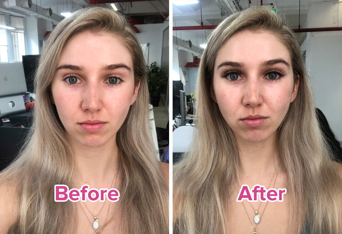 before and after photo of BuzzFeeder with natural lashes on left and fake lashes on the right