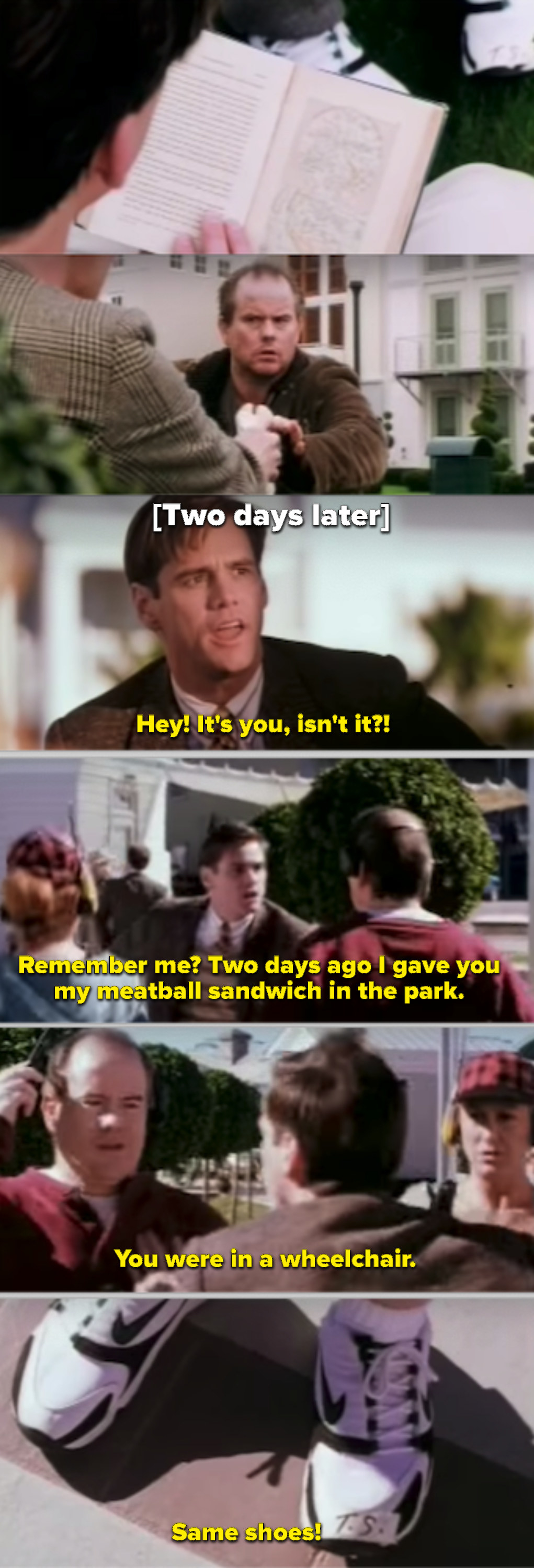 Truman speaking with the actor in the fake park
