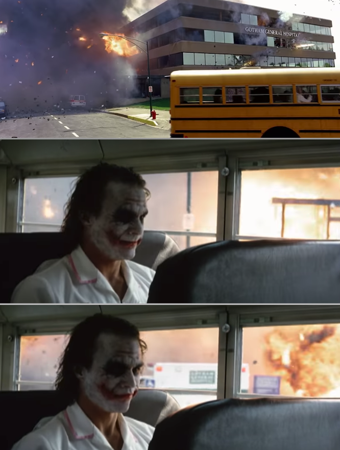 The Joker sitting on the bus as the hospital explodes