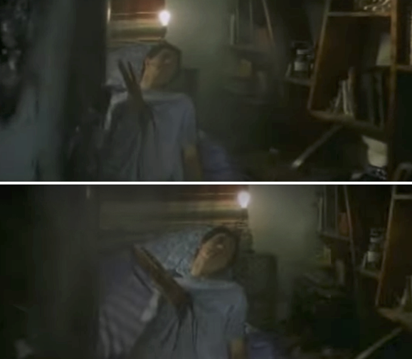 Donnie in his room with a piece of metal through his chest