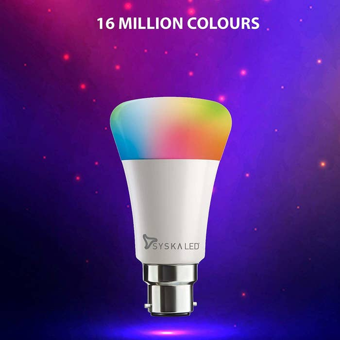 A Syska LED bulb showing off various colour options