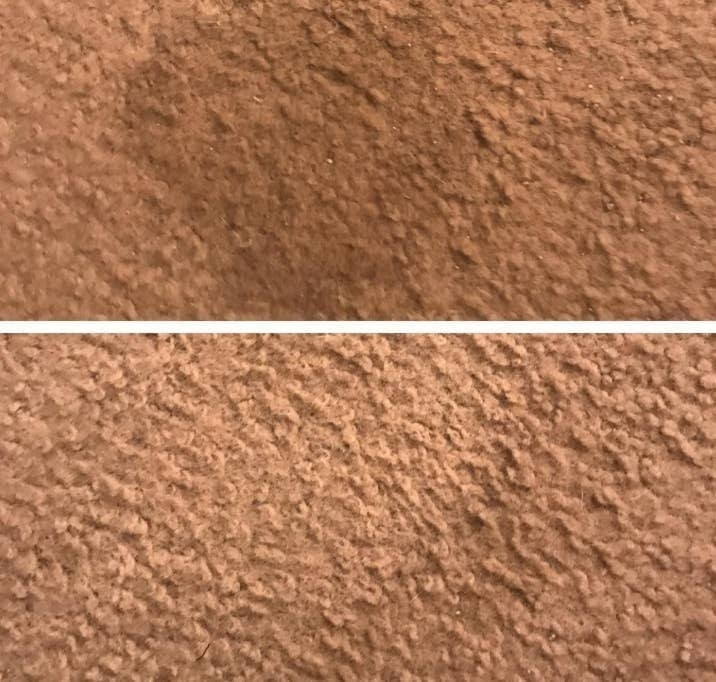 on top, a wet stain on carpet, and on the bottom, the carpet now free of the stain