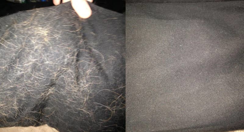 on the left, a piece of fabric covered in dog fur, and on the right, the same fabric now clear of the fur