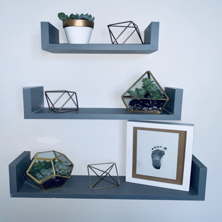 a reviewer's gray floating shelves