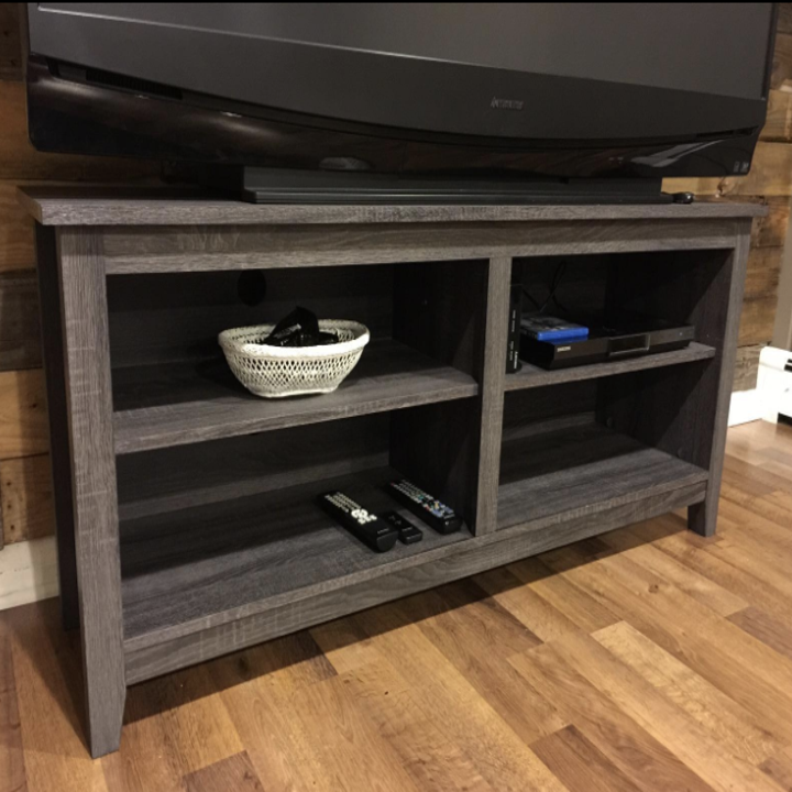 a reviewer's photo of the tv stand