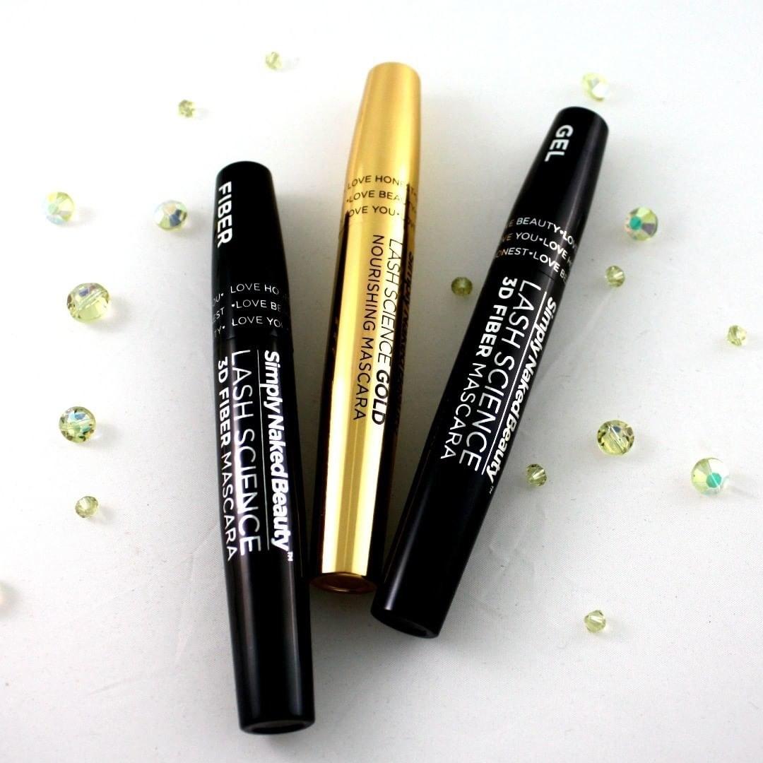 The gel mascara, fibre mascara, and nourishing mascara surrounded by gems