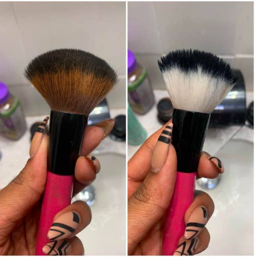On the left, a reviewer holding a brush covered in product. On the right, the same brush with the bristles restored to white