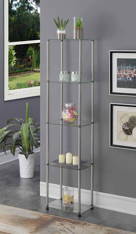 a five tiered glass vertical shelf