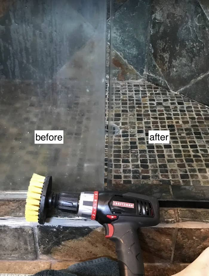 Before and after image of a shower door with hard water stains turned totally clean again