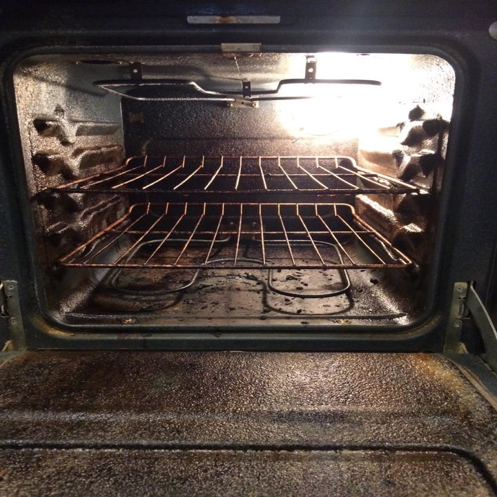before image of crusty oven with burnt remnants