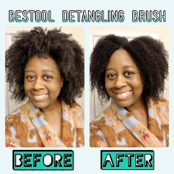 Reviewer's picture with frizzy curls and then defined curls
